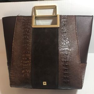 Kate Landry Brown Hand Bag With Gold Handles